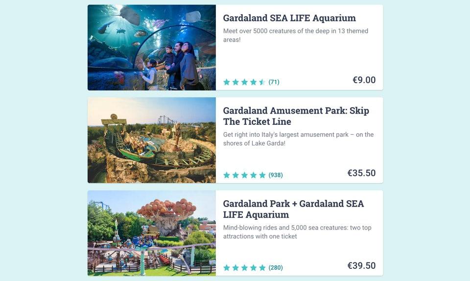 Стоимость онлайн билетов в Гардаленд в Италии