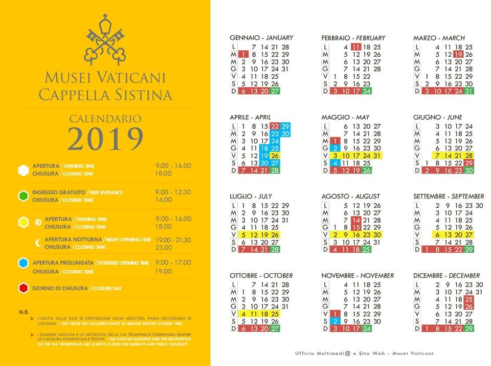 Время работы музеев Ватикана в 2019 году