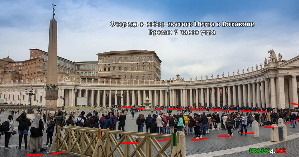 Очередь в собор святого Петра в Ватикане