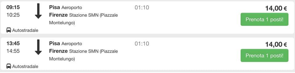 Расписание автобусов из аэропорта Пизы во Флоренцию, стоимость билета 14 евро