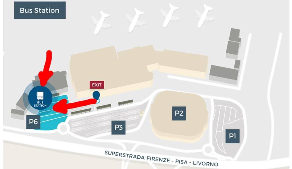 Схема расположения стоянки автобусов в аэропорту Пизы