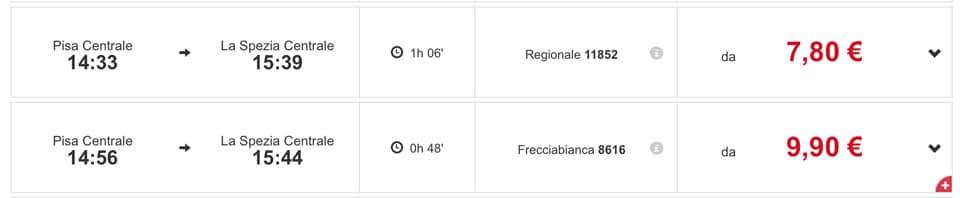 Расписание региональных поездов из Пизы в Специю