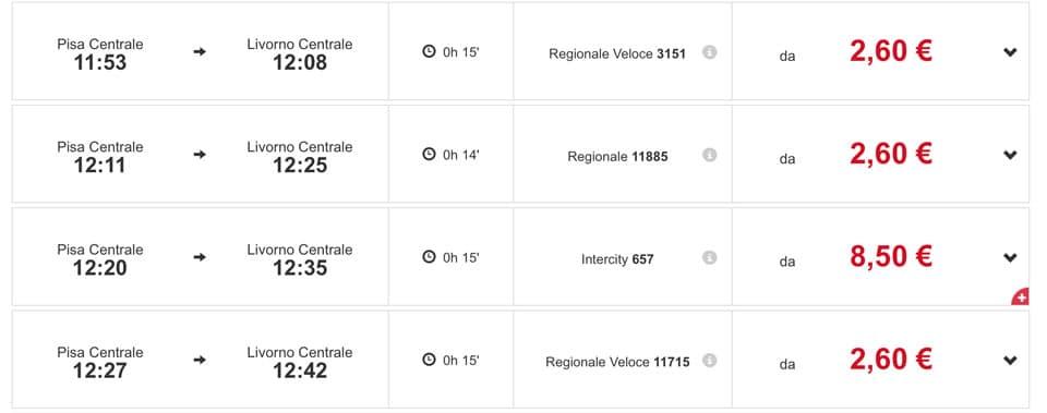 Расписание поездов из Пизы до центрального вокзала Ливорно