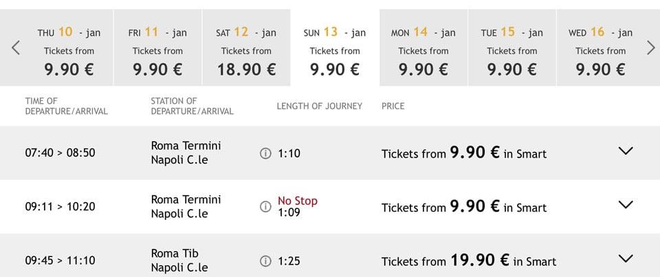 Расписание поездов из Рима в Неаполь