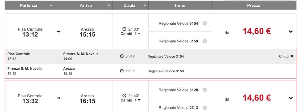 Расписание поездов в Ареццо из Пизы, стоимость билета 14,60 евро