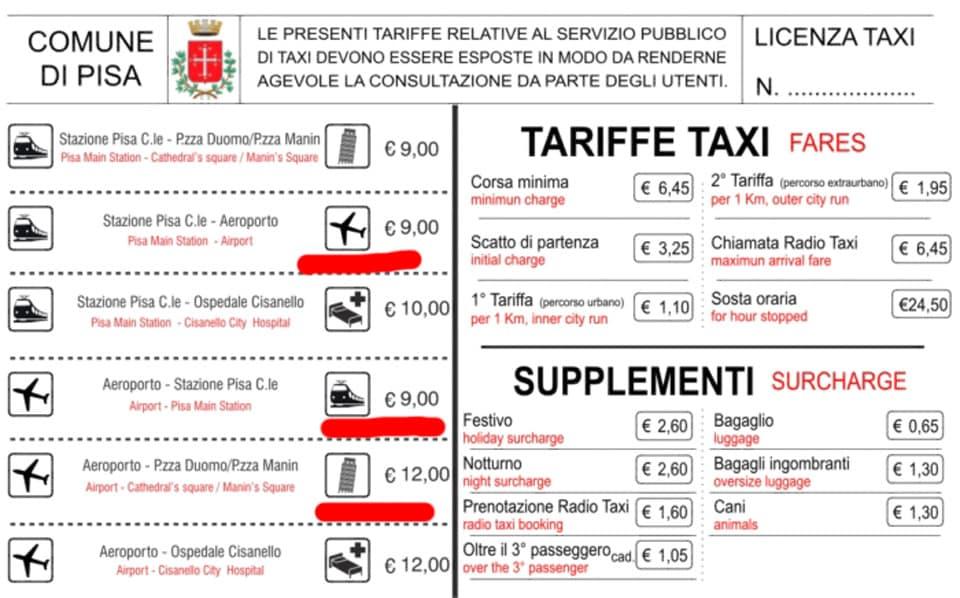 Официальные тарифы такси в Пизе до аэропорта
