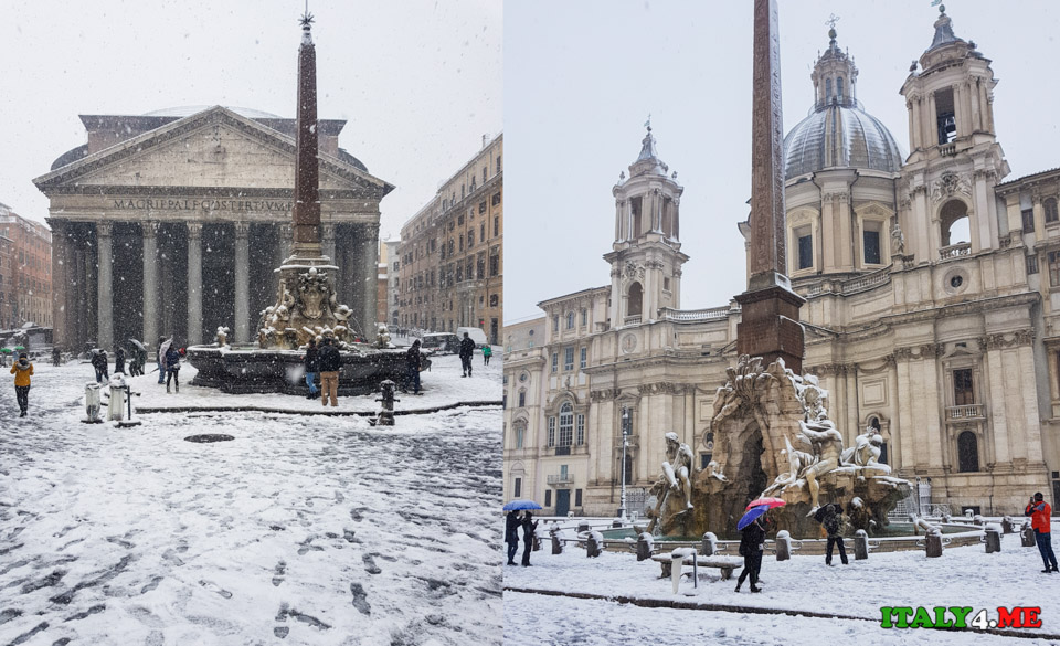 Заснеженный Пантеон и площадь Навона 26 февраля 2018 года