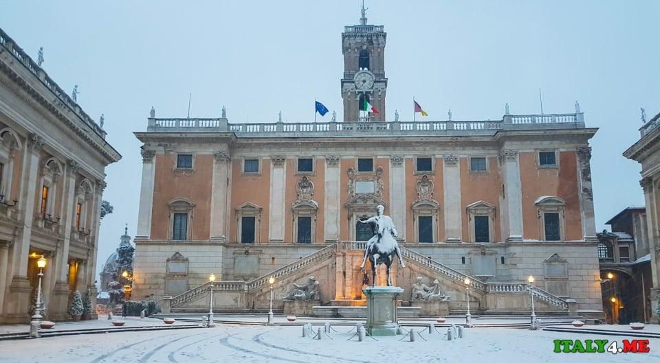 Капитолийская площадь под снегом
