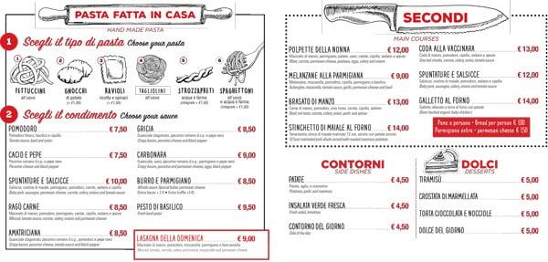 Меню и цены в ресторане Pasta e Vino Osteria в Риме