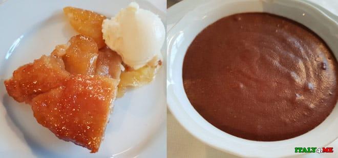 десерты Тарт Татен и шоколадный мус в миланском ресторане