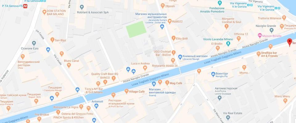 Карта район Навильи с барами и ресторанами в Милане
