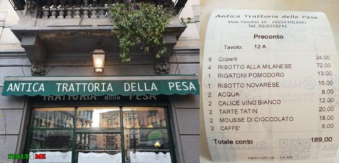 счет за обед в ресторане в Милане составил 189 евро на 6 человек