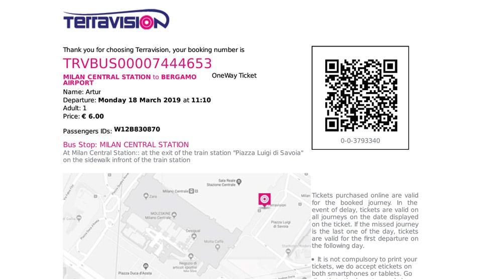 Билет на автобус из Милана в аэропорт Бергамо цена 6 евро