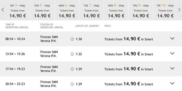 Расписание поездов из Флоренции в Верону и стоимость билетов