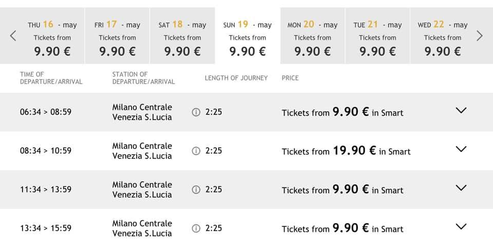 Расписание поездов Италотрено из Милана до Венеции