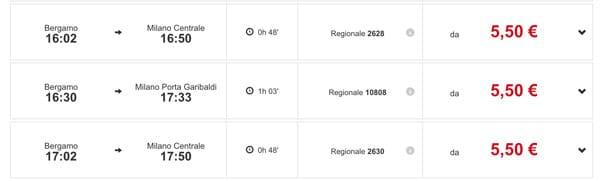 Расписание поездов из Бергамо в Милан