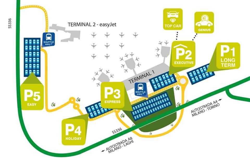 Схема аэропорта Мальпенса в Милане