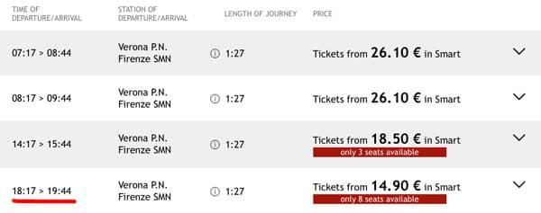 Расписание поездов из Вероны во Флоренцию, стоимость билетов