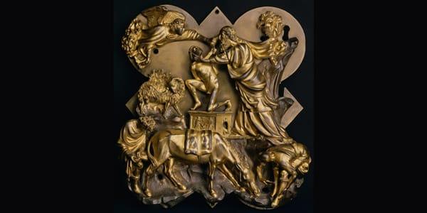 бронзовый рельеф «Принесение в жертву Исаака» Филиппо Брунеллески