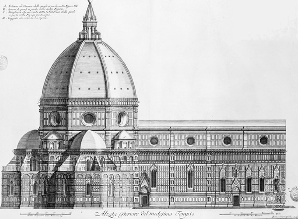 Чертеж собора Санта-Мария-дель-Фьоре во Флоренции