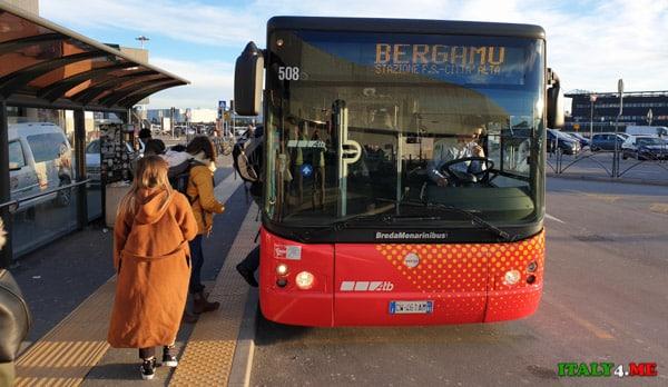 Автобус из аэропорта Орио-аль-Серио в город Бергамо