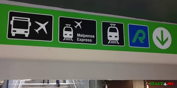 Значки на указателях на станции Milano Centrale