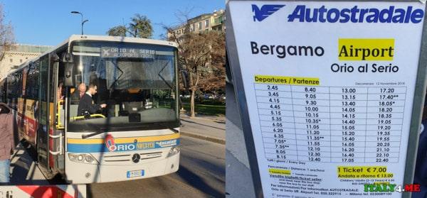 Расписание автобусов компании Autostradale из Милана в аэропорт Бергамо