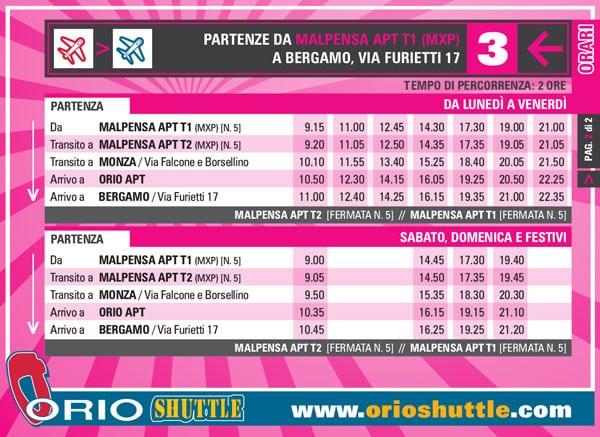 Расписание автобусов из аэропорта Мальпенса в Бергамо
