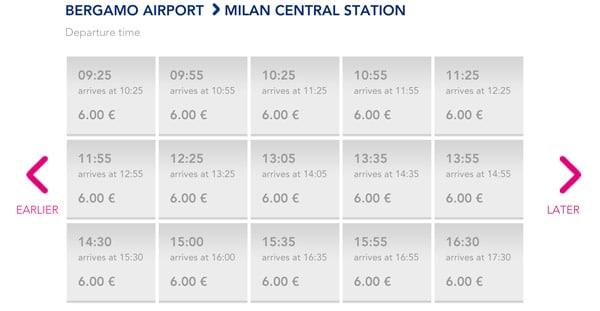 Расписание автобусов из аэропорта Бергамо в Милан