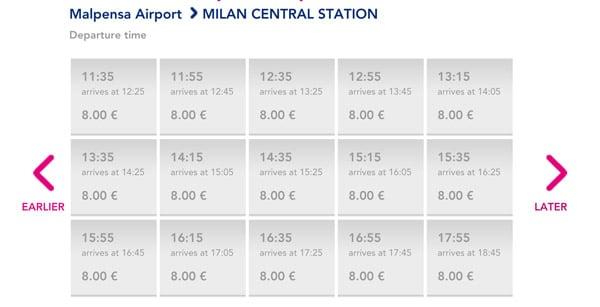 Расписание автобусов из аэропорта Мальпенса в Милан