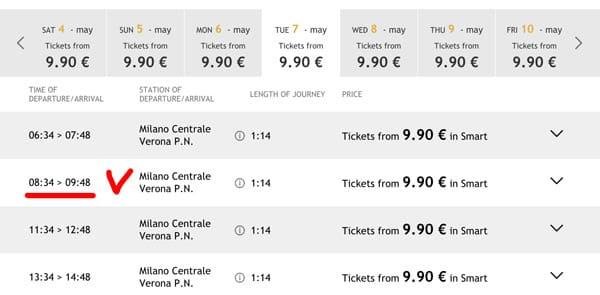 Расписание поездов из Милана в Верону