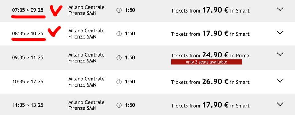 Расписание поездов Италотрено из Милана во Флоренцию