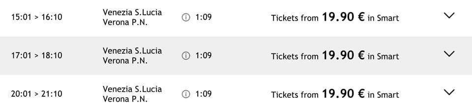 Расписание и стоимость билетов на поезд из Венеции в Верону