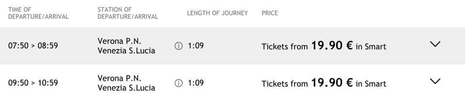 Расписание поездов Италотрено из Вероны в Венецию