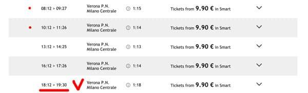 Расписание поездов из Вероны в Милан
