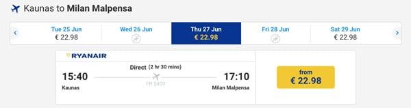 Стоимость авиабилетов из Каунаса в Мальпенса начинается от 23 евро