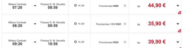 Расписание поездов Трениталия из Милана во Флоренцию
