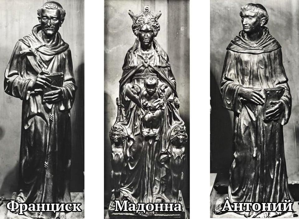 Бронзовые скульптуры Мадонны с Младенцем, святого Франциска и Антония, работа Донателло