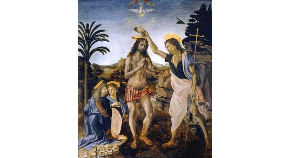 Картина Крещение Христа авторы Андреа дель Вероккьо и Леонардо да Винчи