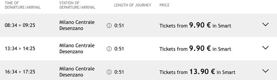 расписание поездов Италотрено из Милана до озера Гарда