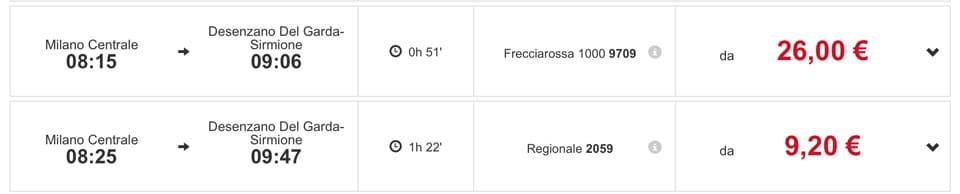 Расписание поездов из Милана на озеро Гарда