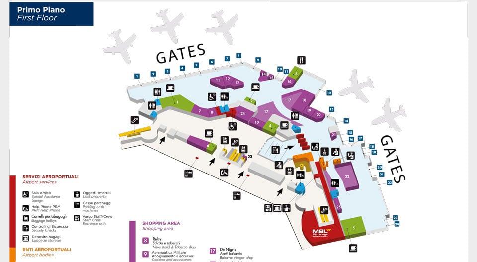 Карта схема терминалов в аэропорту Болонья