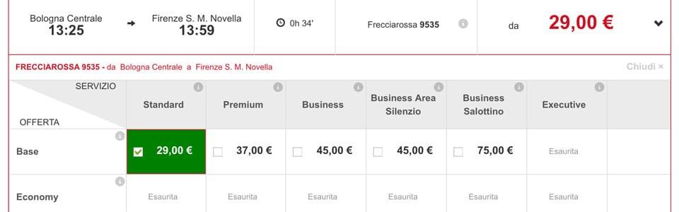 Стоимость билетов Трениталия по маршруту Болонья-Флоренция