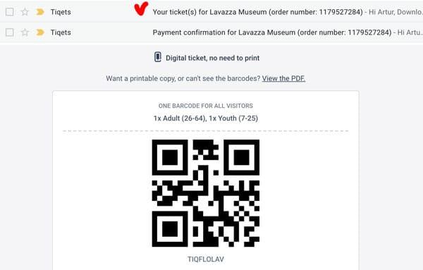 Электронный билет в музей кофе в Турине