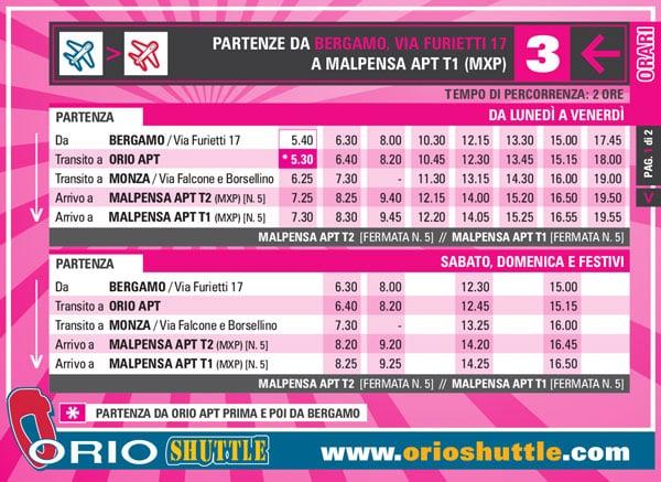 Расписание автобуса из Бергамо в аэропорт Мальпенса