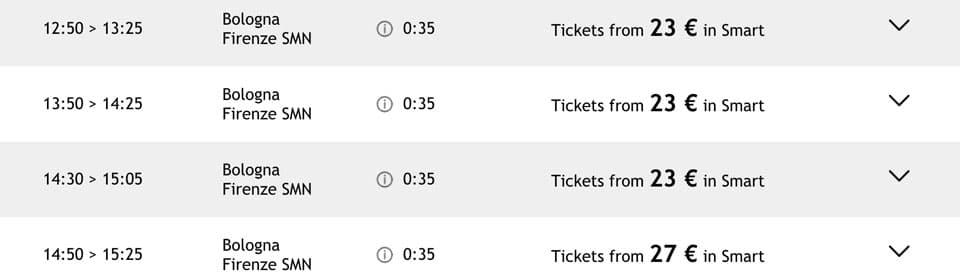 Расписание скоростных поездов Italotreno из Болоньи во Флоренцию