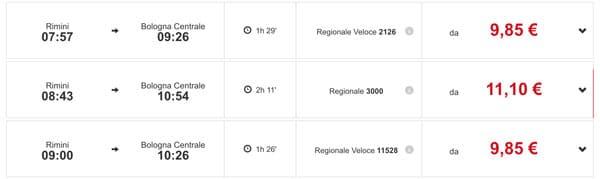 расписание региональных поездов из Римини в Болонью