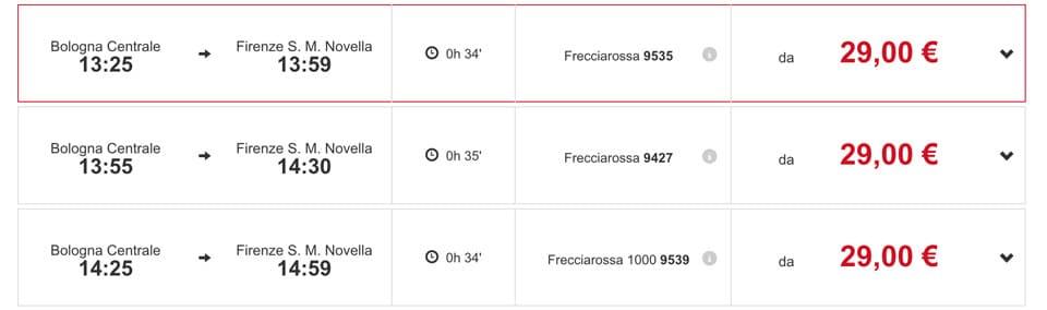 Расписание скоростных поездов Trenitalia из Болоньи во Флоренцию