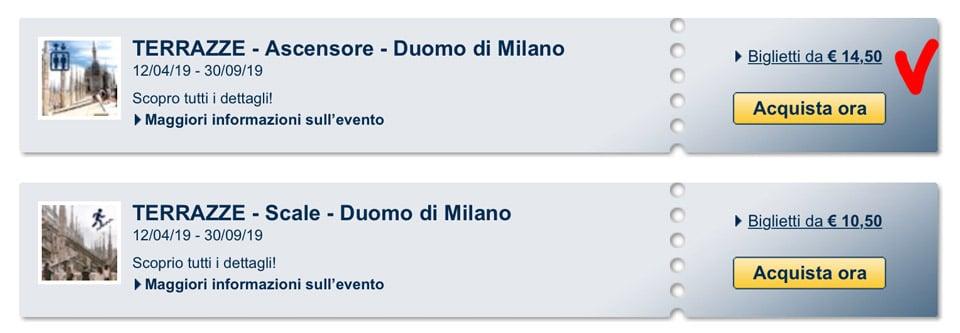 Билеты на террасу собора Дуомо в Милане