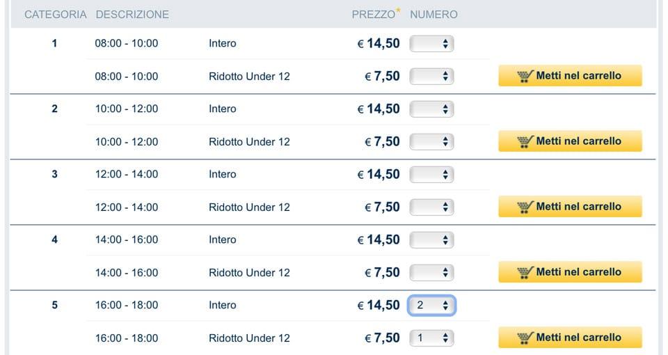 Стоимость взрослого и детского билета на террасу собора Дуомо в Милане